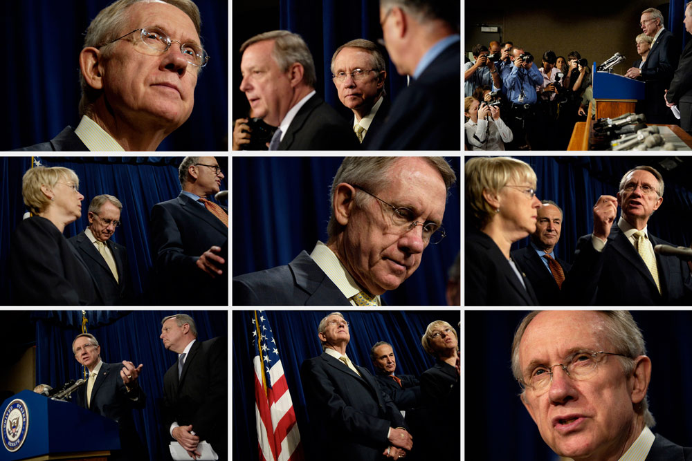 I'm often asked why photojournalists shoot so many pictures of the same situation. I was photographing Senate majority leader Harry Reid as he was reacting to the interim report submitted by the Bush White House on the war in Iraq.As I was angling for position, a reporter asked, {quote}Don't you think you have enough of this guy?{quote} It struck me as ironic that she took detailed notes while Sen. Reid spoke so she didn't miss anything.Photojournalists can take hundreds of pictures as they work, capturing different angles, facial expressions, and gestures with the intent of telling the story in a single creative, compelling picture.Like the reporter taking notes, we don't want to miss anything in our quest to make that one image. It can be nerve-racking because when the event is over, the opportunity for more pictures is, too. There are no follow-ups. So I shoot and shoot – and shoot some more – because I don't know when the best moment will come, and it's not just about taking pictures, it's about telling stories.