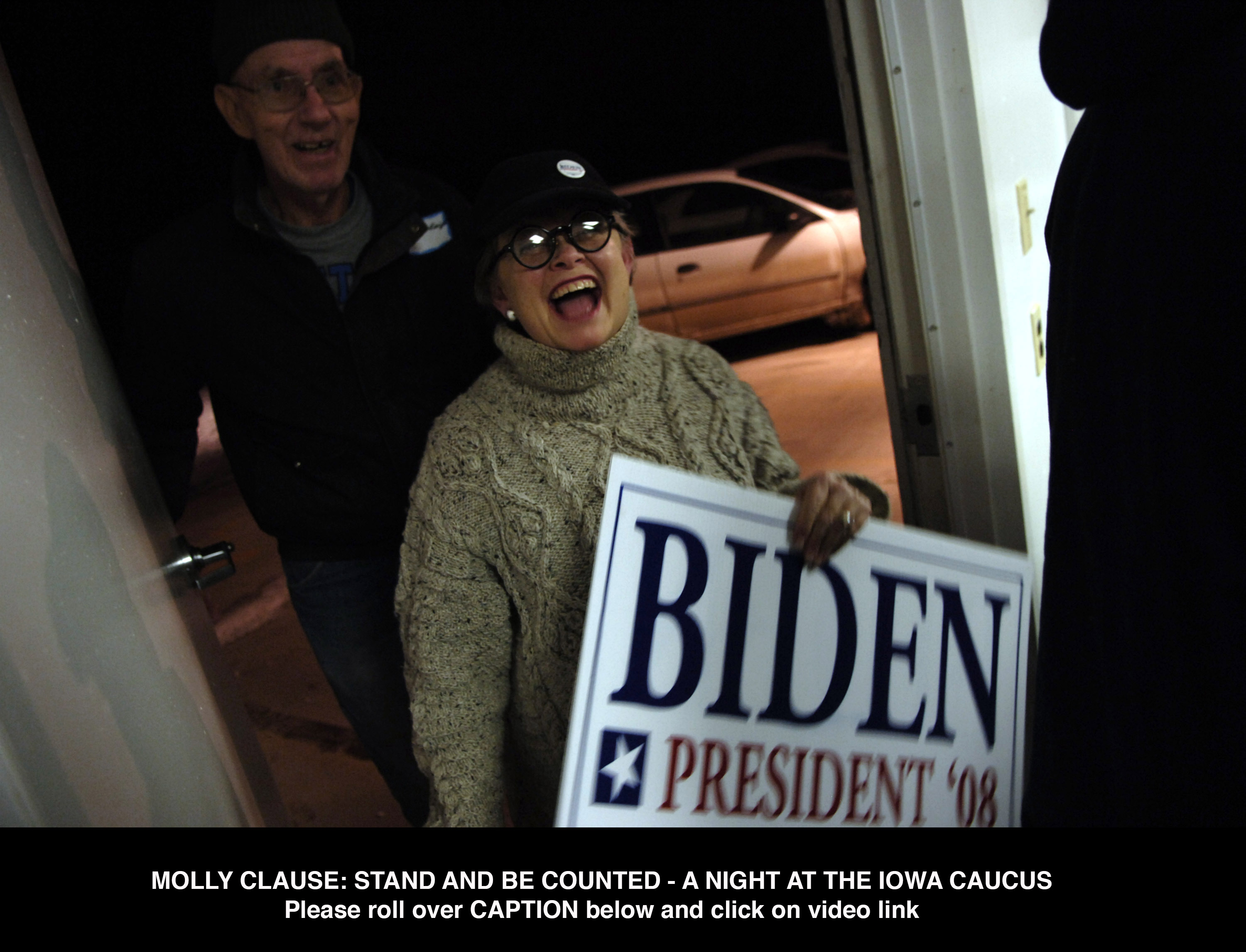 CLICK HERE FOR VIDEOMolly Clause arrives at her caucus site loaded with materials to support Democratic presidential hopeful Sen. Joe Biden.