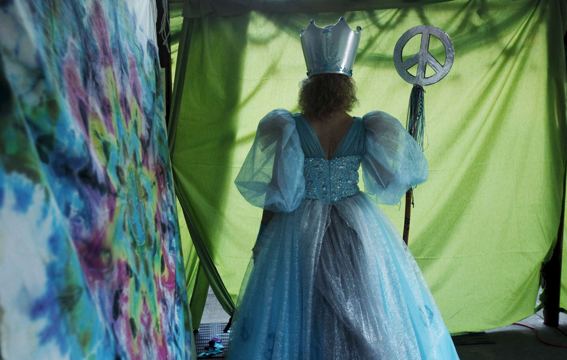 Peacetress Compassionata SlugAnela, aka Ani Sinclair, waits backstage before being called upon to answer a question during the 32nd Slug Queen Coronation in Eugene on Friday, August 8, 2014. (Andy Nelson/The Register-Guard)