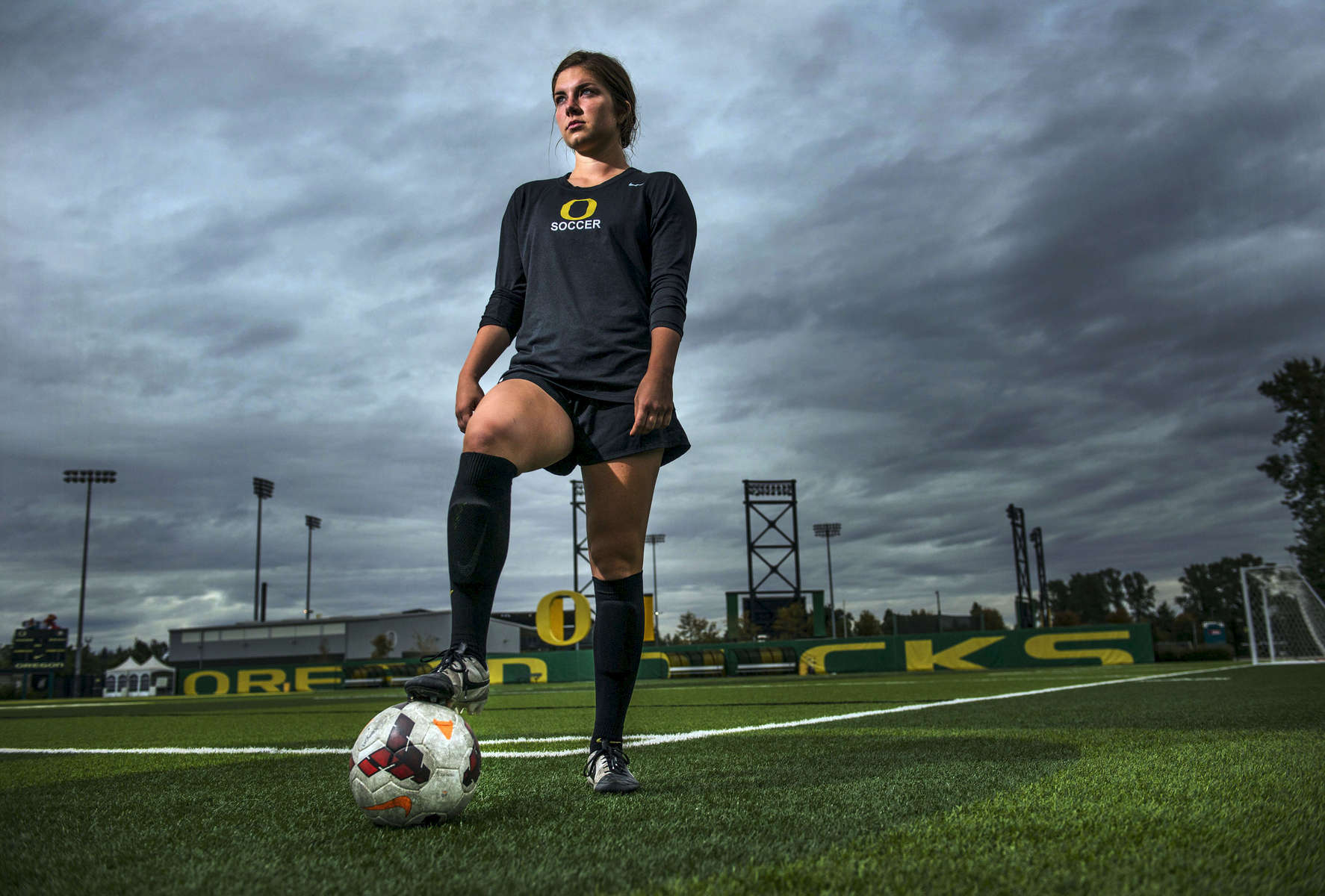 University of Oregon soccer player Lilly Archer worked her way into the starting lineup by becoming the go-to player for set pieces on corner kicks and penalty kicks. She is the teams leading scorer so far this season. Photographed at Pape Field in Eugene on Tuesday September 24, 2014. (Andy Nelson/The Register-Guard)