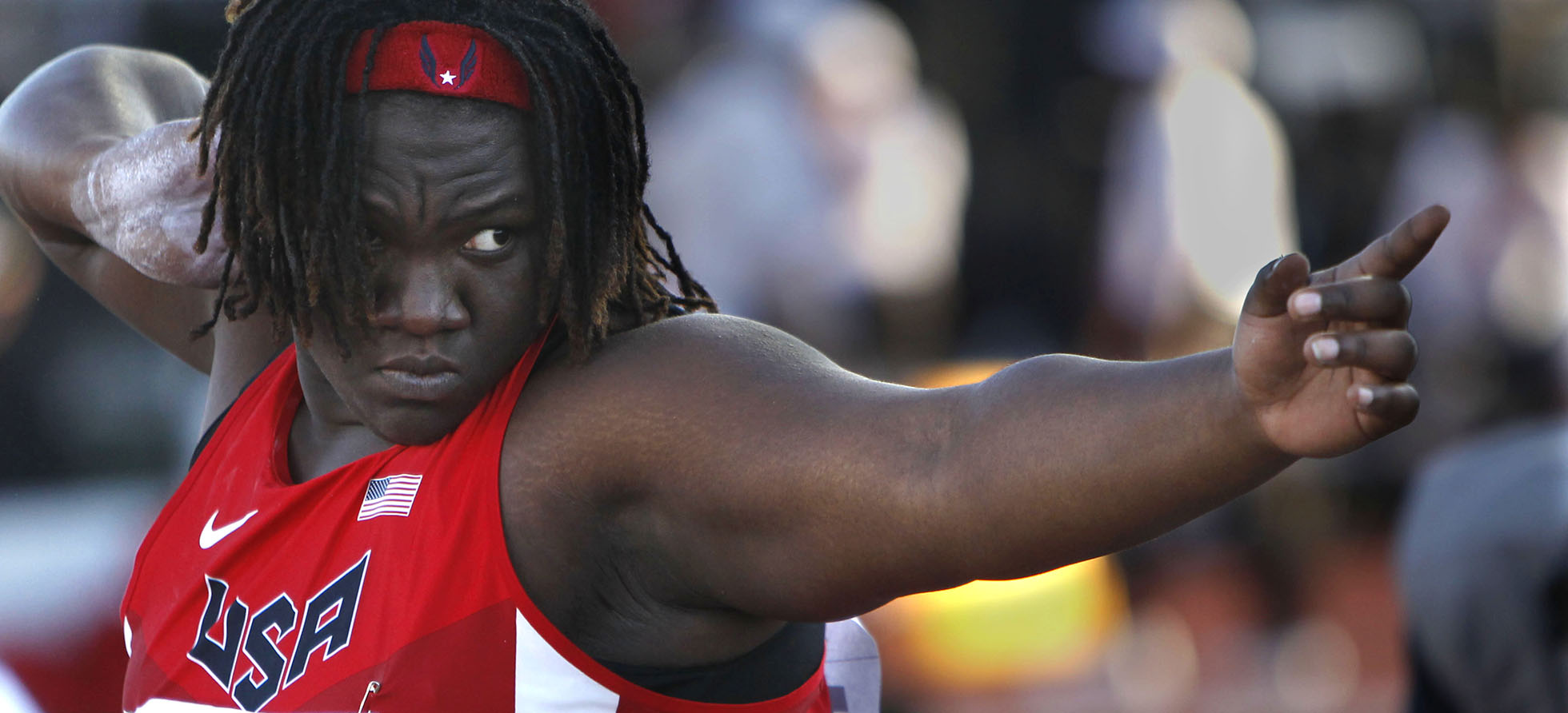 USA shot putter Raven Saunders steps into the ring at the IAAF World Junior Championships at Hayward Field in Eugene on Friday, July 25, 2014. Saunders claimed second place in the shot put competition with a throw of 16.63 meters. (Andy Nelson/The Register-Guard)