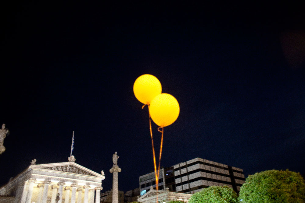 Athens Greece May 6, 2012, Election dayBalloons at the celebration of Alexis Tsipras, the Left Coalition party leader.