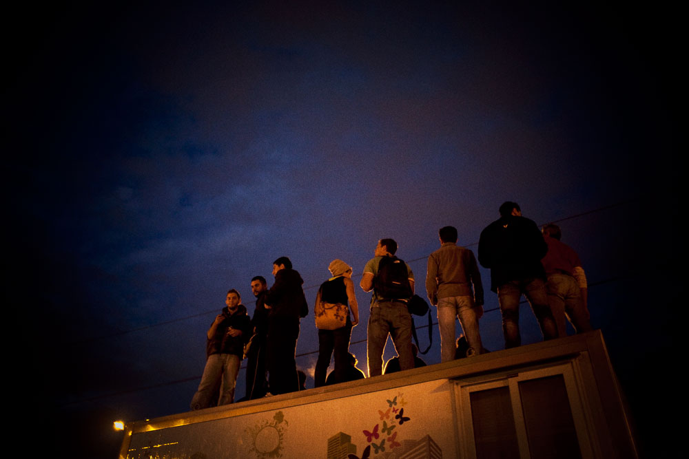 Athens, Greece November 7, 2012Protesters standing on a roof of a truck, in Syntagma square during the 48-hour strike by the two major Greek workers unions in central Athens.