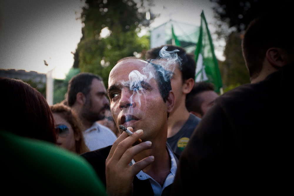 Athens, Greece May 4, 2012A supporter at the pre-election rally of Evangelos Venizelos in Syntagma square.
