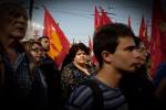 Athens Greece, May3,2012Thousands communists attended to the main pre-election rally of Aleka Papariga, the General Secretary of the Party.The streets of the center remained closed for several hours, until the end of the speech.