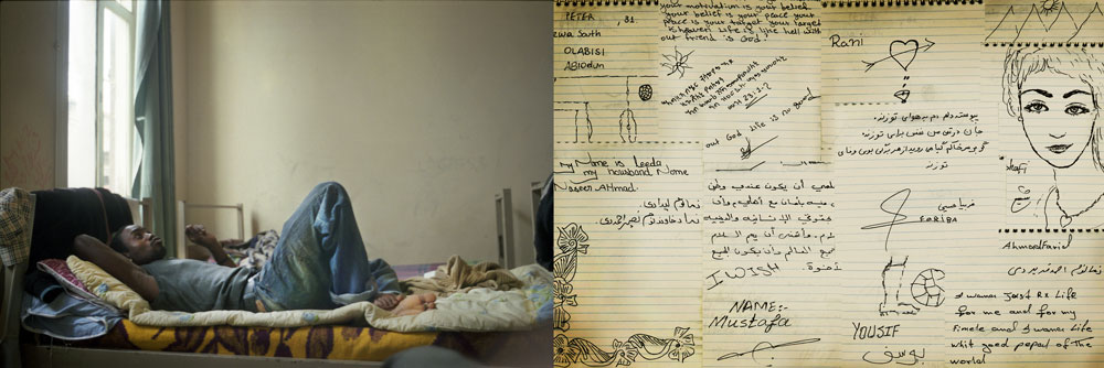 (Left)Turkey, Izmir An African man lying on his bed. He managed to have a short stay.(Right)Turkey, Izmir Dreaming of a better life.