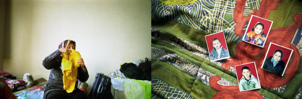 (Left)Turkey, Izmir An Afghan woman inflating a life vest. Rubber boats and vests are readily available in the hub.(Right)Turkey, Izmir Family pictures lying on a bed, waiting to find their identification