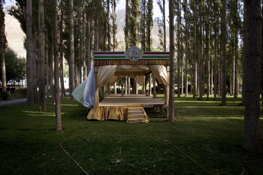 Khorog, Tajikistan 2011-In the Central Park, the main stage has been placed for the presidents speech Emomali Rahmon.