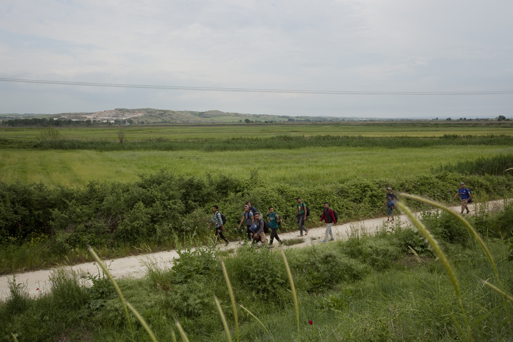 Greece, 2015Immigrants walking, towards the Macedonian border.