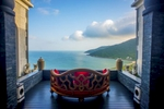 A view of the the lobby lounge of the Intercontinental\'s Danang Sun Peninsula wedged into the mountainside overlooking the Son Tra Peninsula. Justin Mott/Redux Pictures