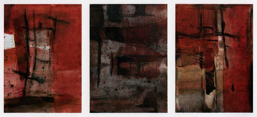 Triptych. Mixed media on canvas, 7 x 5 in. (17.8 x 12.7 cm) each