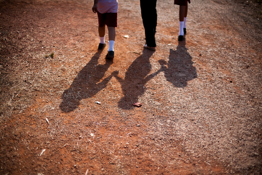 Students from a resource room classroom walk to school in Pilerne Village, Goa.
