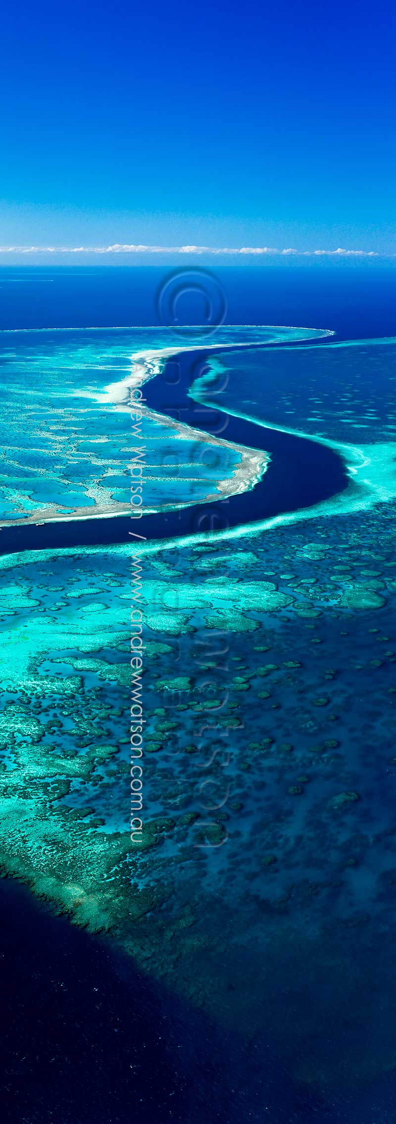 Aerial view of The Channel, Great Barrier ReefWhitsundays, North QueenslandImage available for licensing or as a fine-art print... please enquire