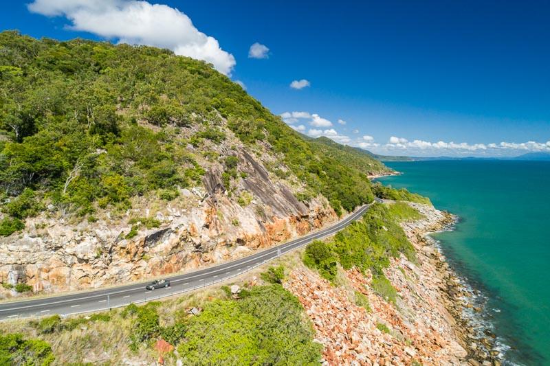 Aerial view of scenic coastline road between Cairns and Port Douglas