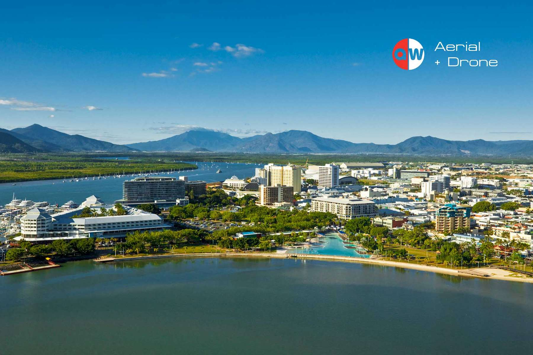 Aerial view of Cairns Esplanade Lagoon by photographer Cairns