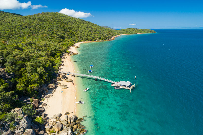 View of jetty and fringing reef on Orpheus Island, Lucinda