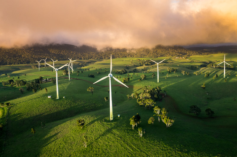 Aerial view of wind turbines at sunrise at Windy Hill Wind Farm, Ravenshoe
