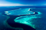 Aerial view of channel running between Hardys Reef, Hook Reef and Line Reef in the Great Barrier Reef Marine Park, Whitsundays