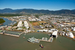 Aerial view of Navy Base and bulk sugar loading facility in Cairns