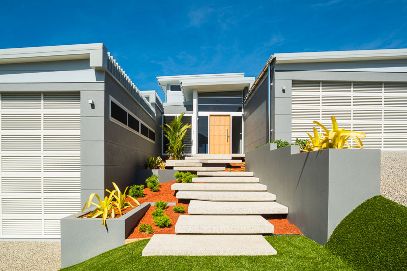 Front steps and facade of a residential home in Cairns