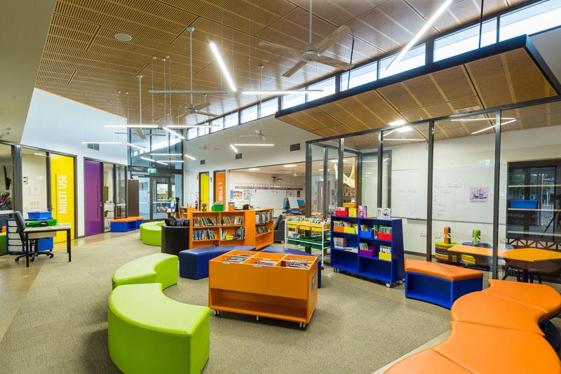 Interior of school library and multi-use area at St Joseph's Parish School, Weipa