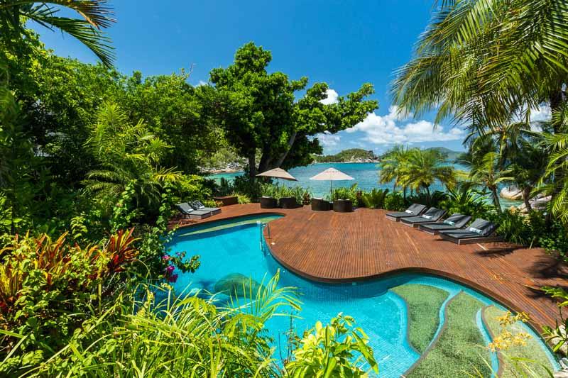 Resort swimming in tropical surrounds at Bedarra Island Resort