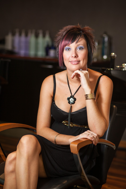Portrait of female hairdresser in Cairns hair salon