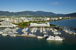 Aerial view of boats moored in the Marlin Marina and the Cairns city waterfront