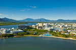 Elevated view of the Cairns Esplanade Lagoon and city centre