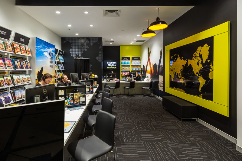 Interior of the Student Flights office fitout at Cairns Central