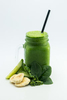 Glass of fresh juice with ingredients of kale, banana and cucumber at Frydays Fish & Chippery, Cairns