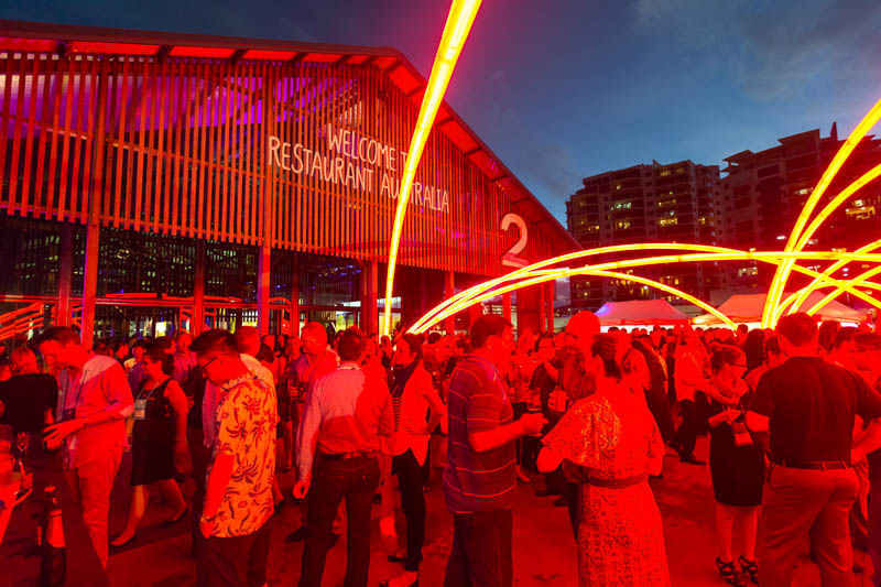 Delegates outside the Cairns Cruise Liner Terminal at night for the 2014 Australian Tourism Exchange Farewell Function