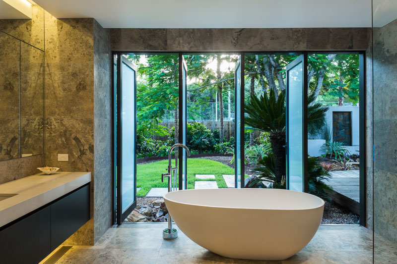 Bathtub with garden backdrop at residential home in Cairns
