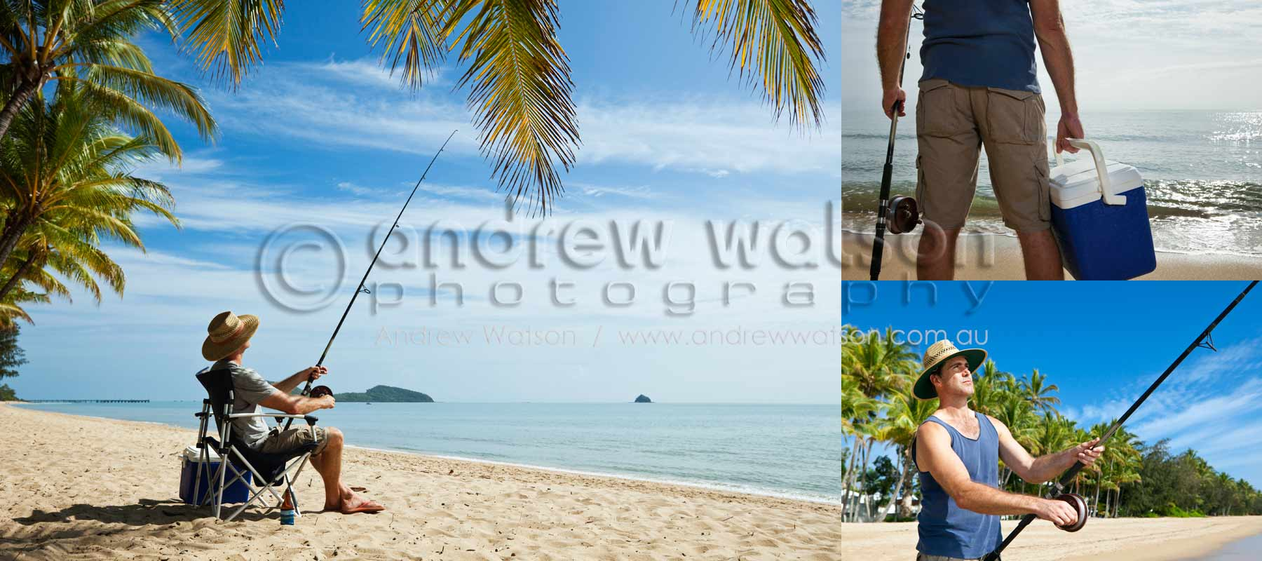 Tourism & Lifestyle Photography - Images of man beach fishing at Palm Cove, North Queensland