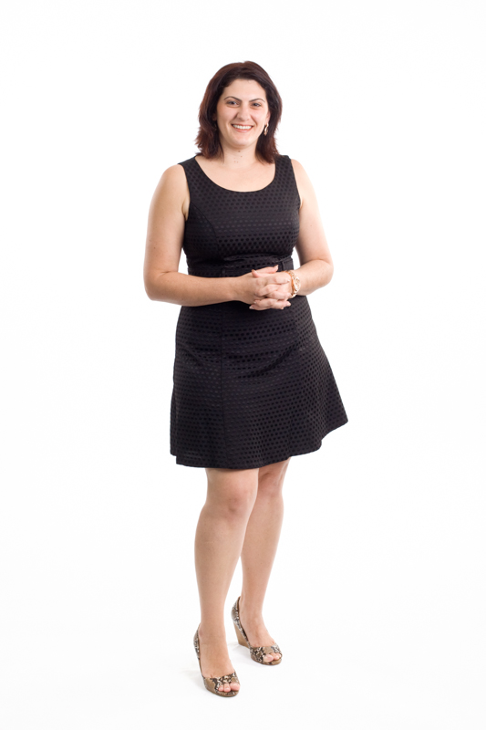 Full length portrait of female accountant with white background, Cairns
