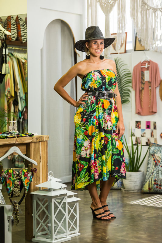 Woman modelling fashions at Gypsett in the Oceana Walk Arcade, Cairns