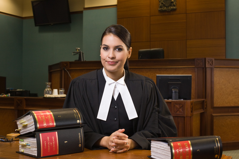 Portrait of indigenous female lawyer in courtroom, Cairns