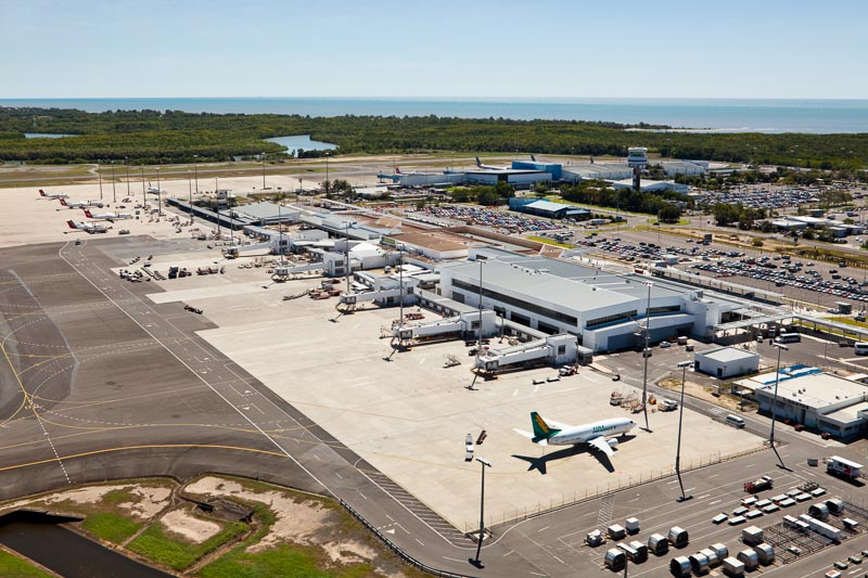 Aerial view of planes parked at airport terminal, Cairns
