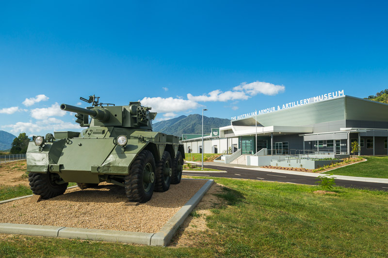 Tank exhibit and entrance to Australian Armour and Artillery Museum in Cairns