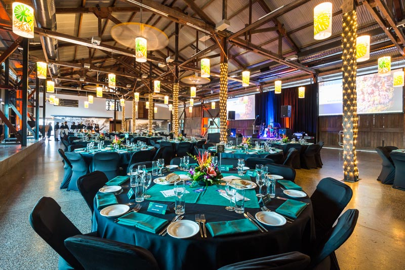 Table settings for WFG Conference Gala Awards Dinner at Cairns Cruise Liner Terminal
