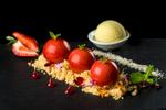 Davidsom plum mousse desert at Ochre Restaurant in Cairns