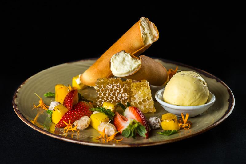 Dessert of honey icecream canoli at Ochre Restaurant in Cairns