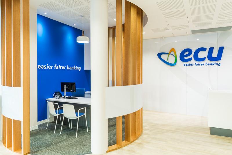 Interior of ECU Australia Bank branch in Cairns