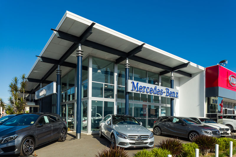 New cars for sales outside the Mercedes-Benz car dealership in Cairns