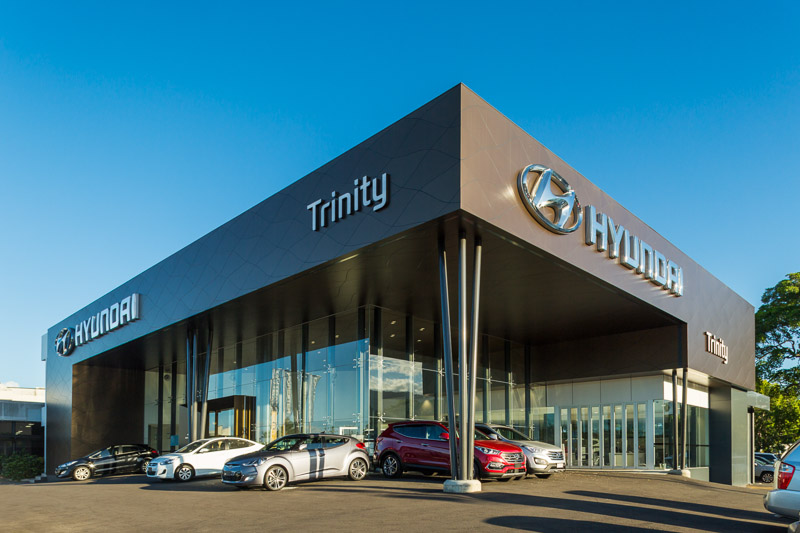 The exterior of the Trinity Hyundai office and car showroom in Cairns