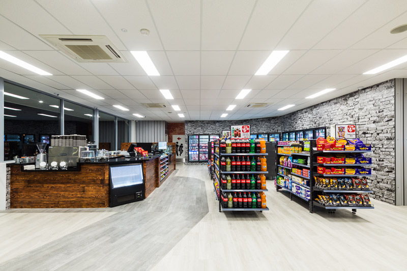 Store shelves and counter inside the Mobil Service Station in Edmonton, Cairns