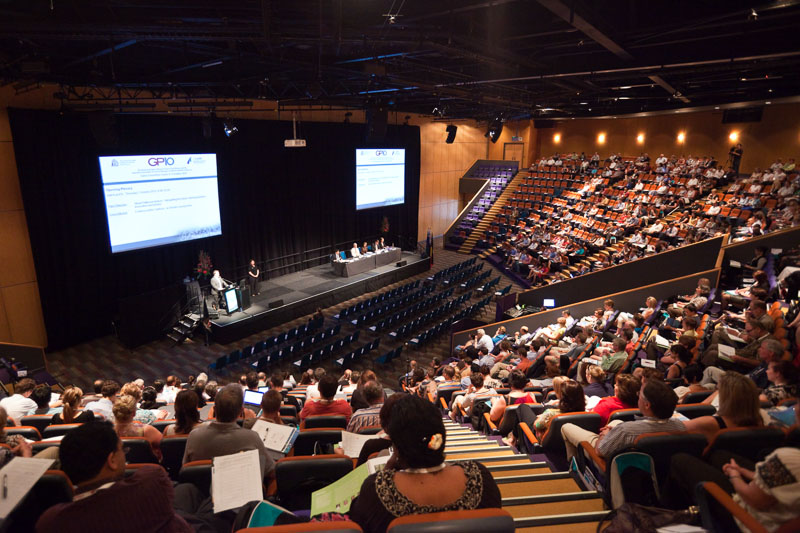 Delegates attending a plenary session at the GP10 Convention in Cairns