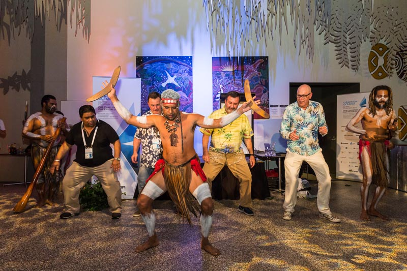 Conference delegates learning indigenous dance at Ideaction Oceania 2018 Conference Dinner in Cairns
