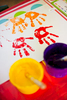 Colourful handprints in kids art class