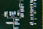 Aerial, view of boats moored in marina at Port Douglas